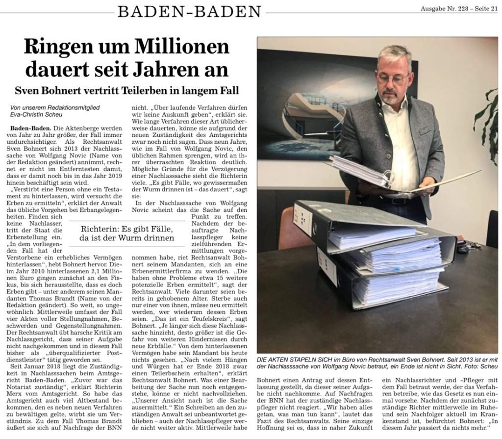 Pressebericht Erbrecht BNN Zeitung. Sven Bohnert vertritt Teilerben in langem Fall. Ringen um Millionen dauert seit Jahren an.